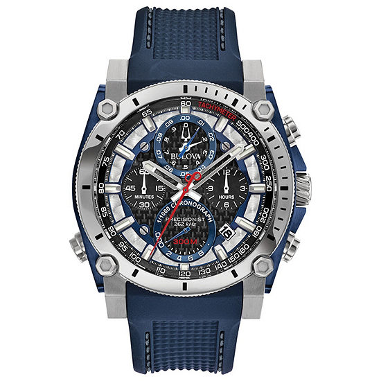 Bulova Precisionist Mens Blue Strap Watch-98b315