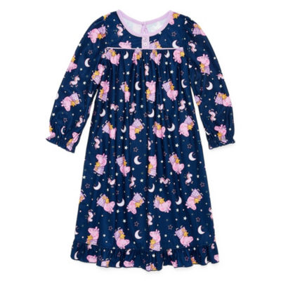 Girls Microfiber Nightgown Peppa Pig Long Sleeve Round Neck