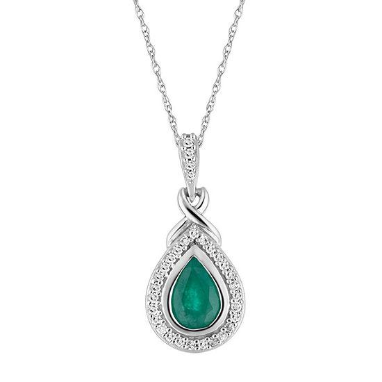 Womens 1/8 CT. T.W. Genuine Green Emerald 10K White Gold Pendant Necklace