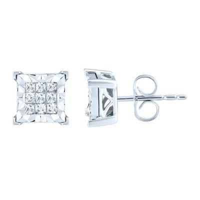 3/4 CT. T.W. Genuine White Diamond 10K White Gold 9.3mm Stud Earrings