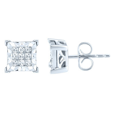 1 CT. T.W. Genuine White Diamond 10K White Gold 10.5mm Stud Earrings