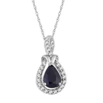 Womens 1/6 CT. T.W. Genuine Blue Sapphire 10K White Gold Pendant Necklace