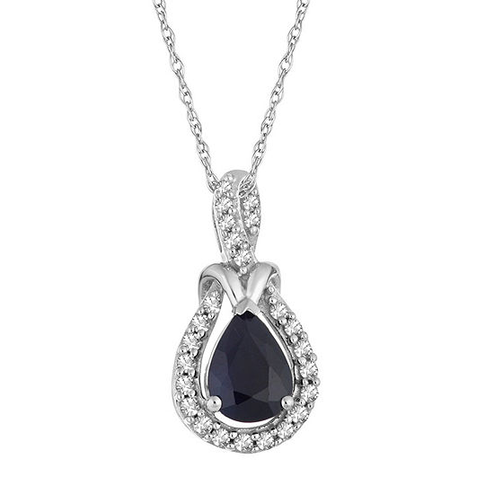 Womens 1/6 CT. T.W. Genuine Blue Sapphire 10K White Gold Pendant Necklace
