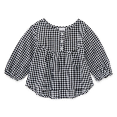 Okie Dokie Gingham Peasant Top - Baby Girl NB-24M