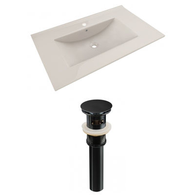35.5-in. W 1 Hole Ceramic Top Set In Biscuit Color- Overflow Drain Incl.