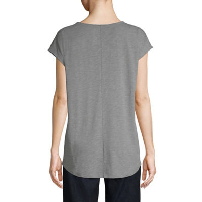 St. John's Bay Short Sleeve High-Low Scoop Graphic Tee - Tall