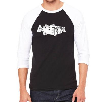 Los Angeles Pop Art Men's Raglan Baseball Word Art T-shirt - Bass - Gone Fishing