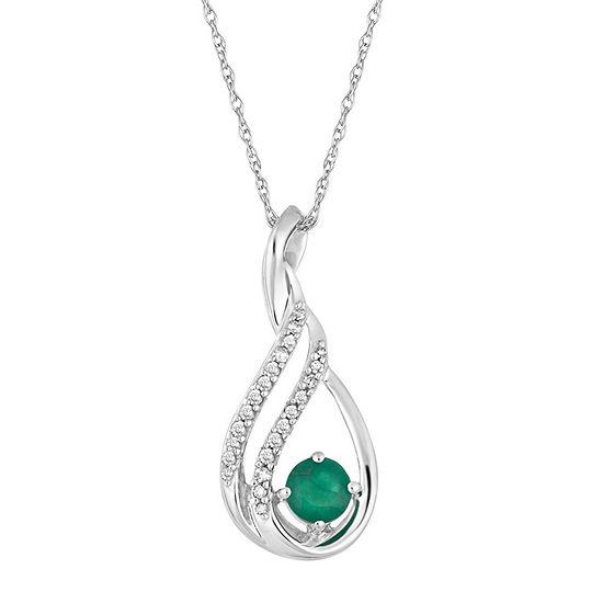Womens Diamond Accent Genuine Green Emerald 10K White Gold Pendant Necklace
