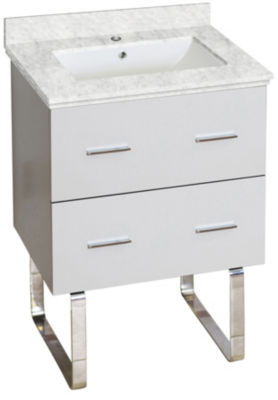 23.75-in. W Floor Mount White Vanity Set For 1 Hole Drilling Bianca Carara Top White UM Sink