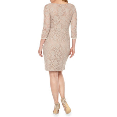 Jackie Jon 3/4 Sleeve Beaded Sheath Dress