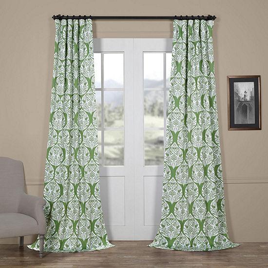 Exclusive Fabrics & Furnishing Woodcut Blackout Rod-Pocket/Back-Tab Curtain Panel