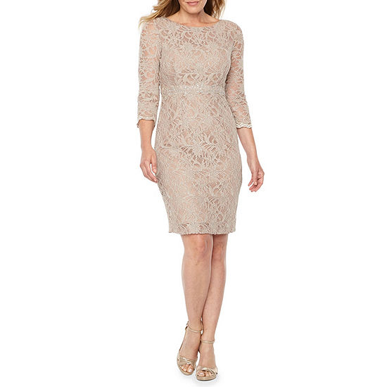 895736e69b Jackie Jon 3 4 Sleeve Beaded Sheath Dress JCPenney