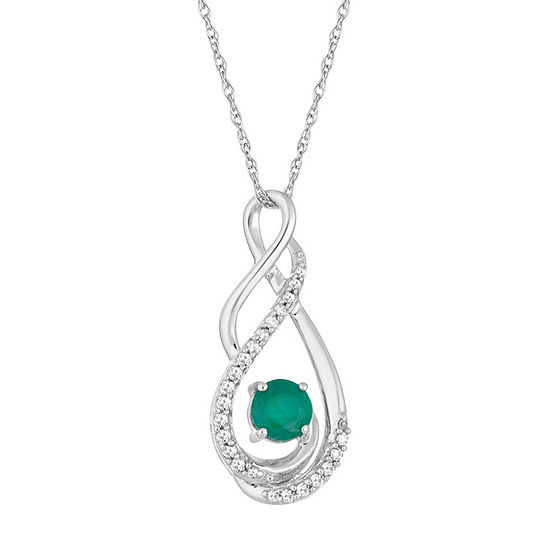 Womens Diamond Accent Genuine Green Emerald 10K White Gold Pendant Necklace
