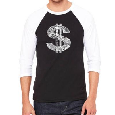 Los Angeles Pop Art Men's Big & Tall Raglan Baseball Word Art T-shirt - Dollar Sign