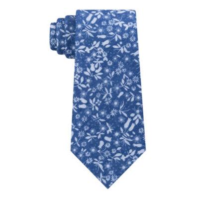 Stafford Trend Denim Floral Tie
