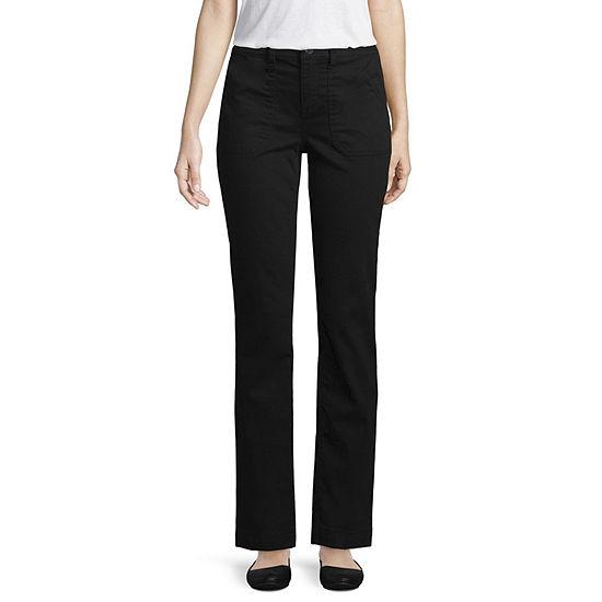 St. John's Bay Womens Mid Rise Straight Flat Front Pant