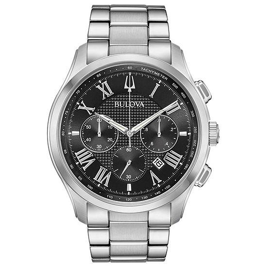 Bulova Mens Silver Tone Bracelet Watch 96b288