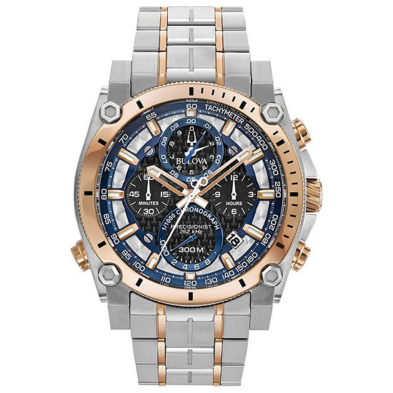 Bulova Precisionist Mens Two Tone Stainless Steel Bracelet Watch-98b317