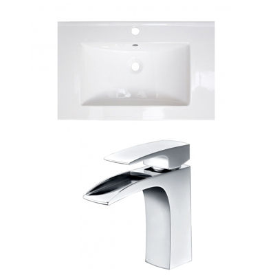 24.25-in. W 1 Hole Ceramic Top Set In White Color- CUPC Faucet Incl.