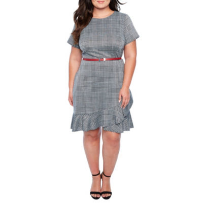 London Times Belted Plaid Fit & Flare Dress - Plus