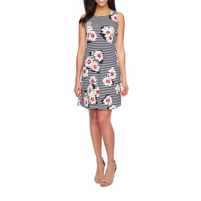 Ronni Nicole Sleeveless Stripe Floral A-Line Dress