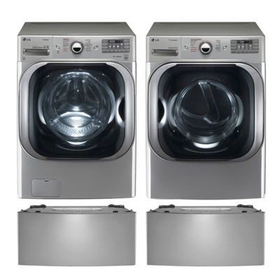 LG Electric Washer and Dryer Set with Pedestals- Graphite Steel