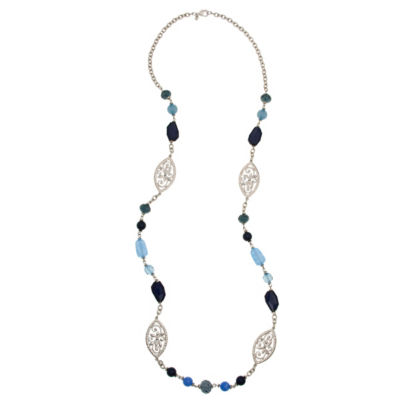 Mixit 5.25 Mixit Blue Womens Beaded Necklace
