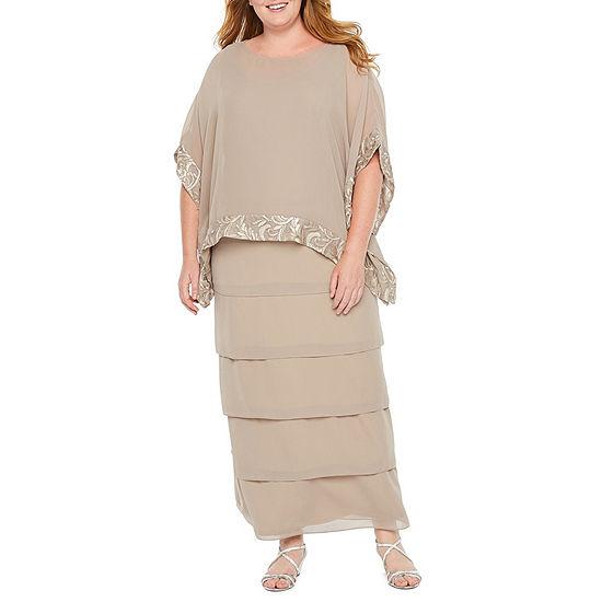 Maya Brooke Short Sleeve Evening Gown - Plus