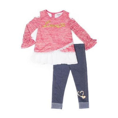 Little Lass 2-pc. Cold Shoulder Love Denim Legging Set-Baby Girls