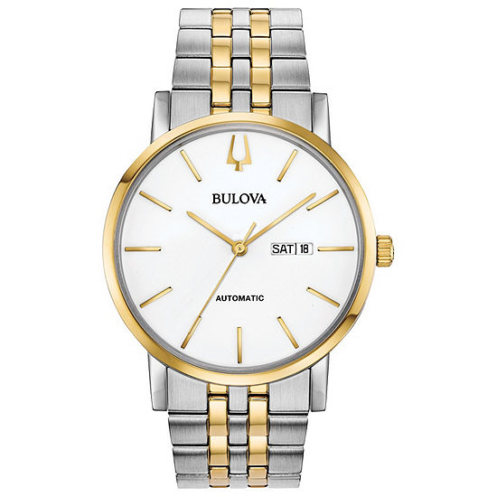 Bulova American Clipper Mens Two Tone Stainless Steel Bracelet Watch-98c130