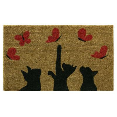 Bacova Guild Playful Butterflies Printed Rectangular Doormat