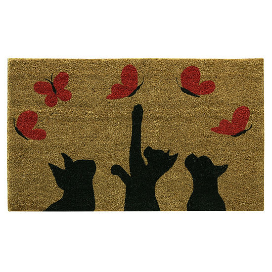 Bacova Guild Playful Butterflies Printed Rectangular Outdoor Doormat