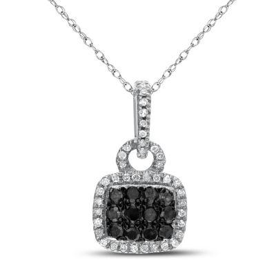 Womens 1/5 CT. T.W. Genuine Multi Color Diamond 10K White Gold Pendant