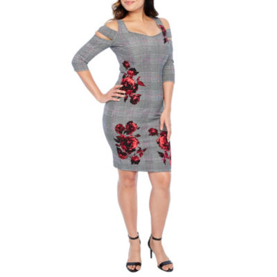 Bold Elements 3/4 Sleeve Bodycon Dress