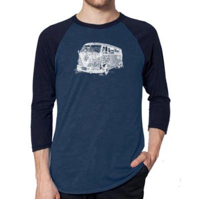 Los Angeles Pop Art Men's Raglan Baseball Word Art T-shirt - THE 70'S