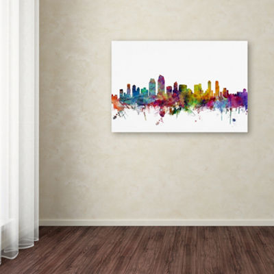 Trademark Fine Art Michael Tompsett San Diego California Skyline Giclee Canvas Art