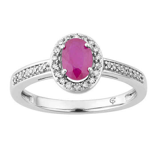 Womens 1/7 CT. T.W. Lead Glass-Filled Red Ruby 10K White Gold Cocktail Ring