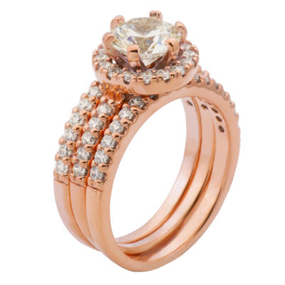 Diamonart Womens White Cubic Zirconia 14K Rose Gold Over Silver Bridal Set
