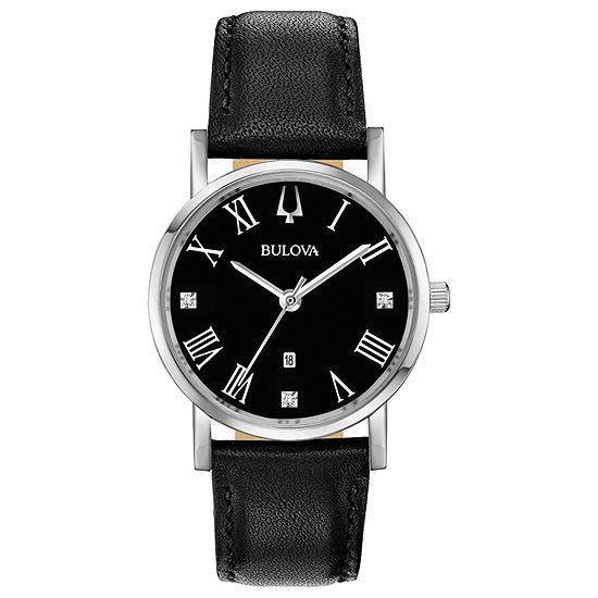 Bulova American Clipper Womens Black Leather Strap Watch-96p192