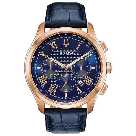 Bulova Wilton Mens Blue Leather Strap Watch-97b170