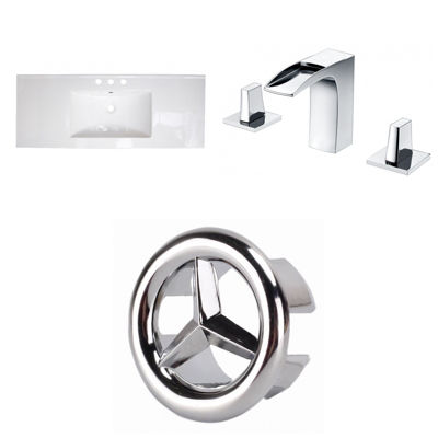 39.75-in. W 3H8-in. Ceramic Top Set In White Color- CUPC Faucet Incl.