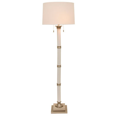 Decor Therapy White and Brushed Steel Column TwinPull Floor Lamp