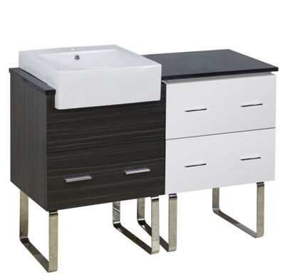 46-in. W 18-in. D Modern Plywood-Melamine Vanity Base Set Only In White-Dawn Grey
