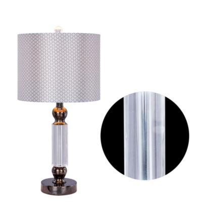 Fangio Lighting's 23.75 inch Clear Crystal & Metal Table Lamp W/LED Nightlight