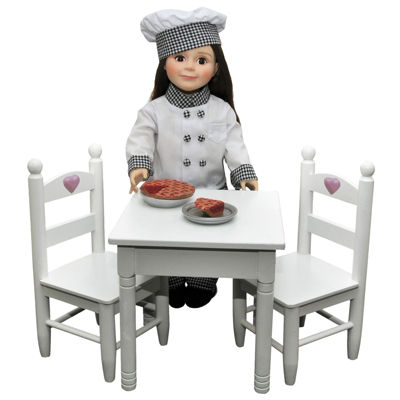 The Queen's Treasures White Table & 2 Chairs for 18 Inch Dolls