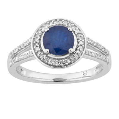 Womens 1/5 CT. T.W. Genuine Blue Sapphire 10K White Gold Cocktail Ring