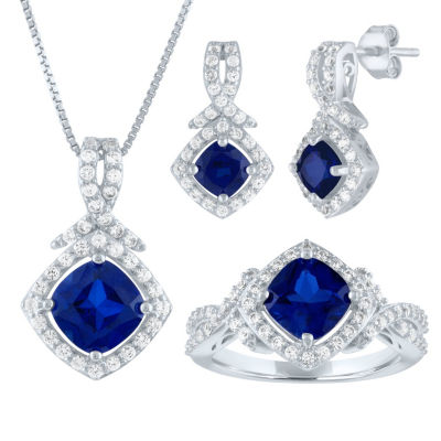 Womens Blue Sapphire Sterling Silver Jewelry Set