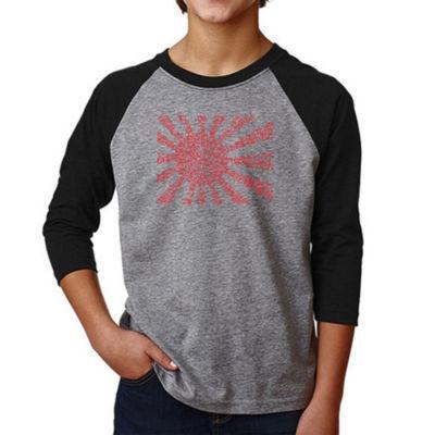 Los Angeles Pop Art Boy's Raglan Baseball Word Art T-shirt - Lyrics To The Japanese National Anthem