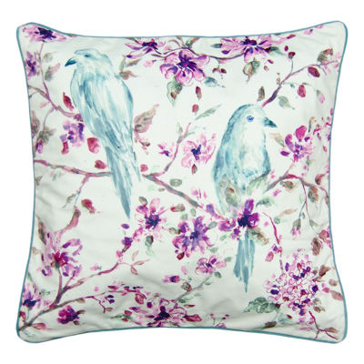 Tree Top Birds Square Throw Pillow