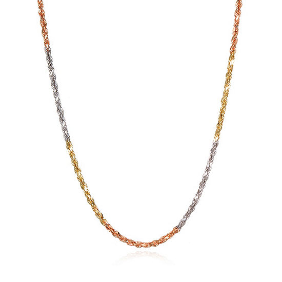 14K Tri-Color Gold 18 Inch Hollow Rope Chain Necklace